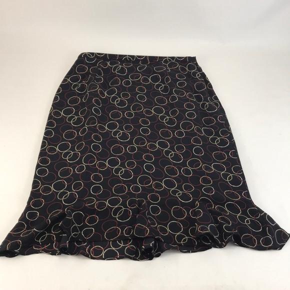 a743e4df40 Skirts | 327 Black Silk Skirt Wcircle Print Ruffle Hem | Poshmark